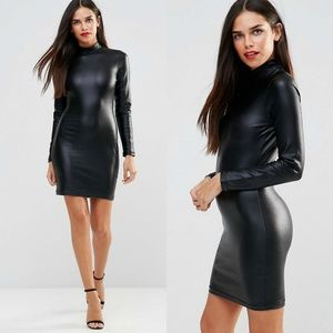 French Connection Leather Look High Neck Dress 6
